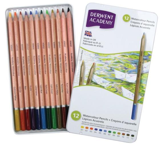 Акварельные карандаши Derwent Academy Watercolour (12 цветов)