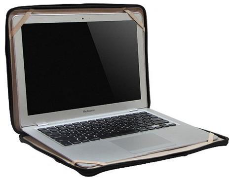 Кожаная сумка для ноутбука MacBook Air чёрного цвета (Compact Attache...
