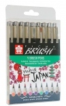 Набор брашпенов Sakura Pigma Brush (9 цветов)