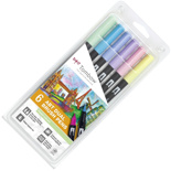 Набор брашпенов Tombow ABT Dual Brush Pen Pastel colour set (6 цветов)